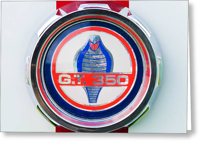 Gt-350 Greeting Cards - 1966 Shelby GT 350 Emblem Greeting Card by Jill Reger