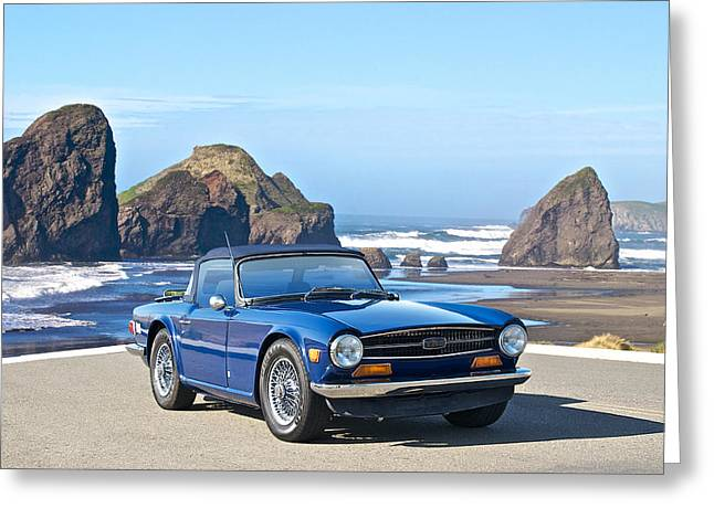 Rally Greeting Cards - 1966 Triumph TR6 Greeting Card by Dave Koontz