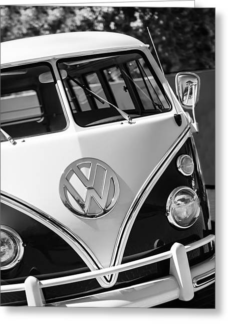 Bus Print Greeting Cards - 1966 Volkswagen Micro Bus -1012bw Greeting Card by Jill Reger