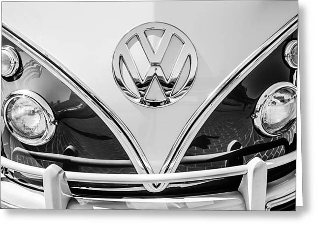 Bus Print Greeting Cards - 1966 Volkswagen VW 21-Window Deluxe Micro Bus Emblem -0530bw Greeting Card by Jill Reger