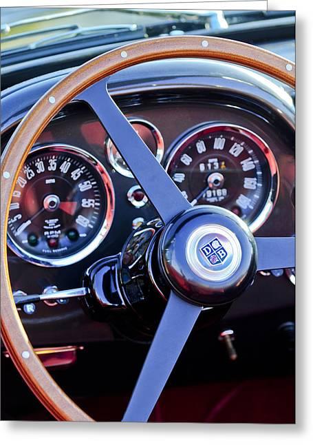 Steering Greeting Cards - 1967 Aston Martin DB6 Volante Steering Wheel 2 Greeting Card by Jill Reger