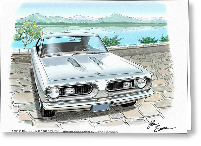 Valiant Greeting Cards - 1967 BARRACUDA  classic Plymouth muscle car sketch rendering Greeting Card by John Samsen