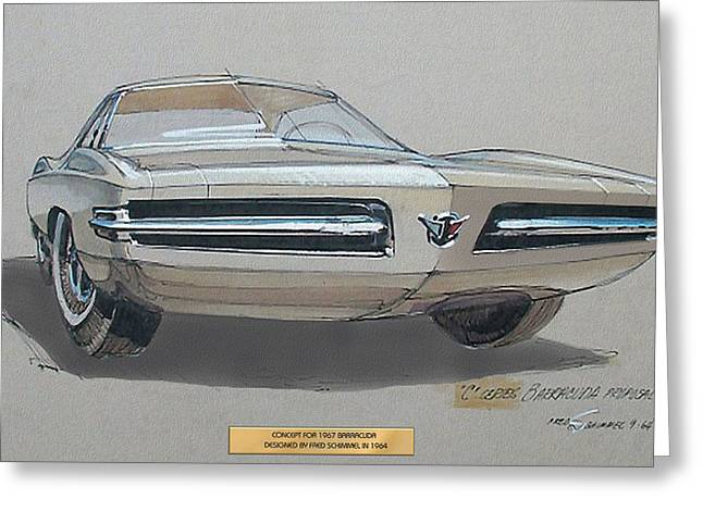 Automotive History Greeting Cards - 1967 BARRACUDA  Plymouth vintage styling design concept rendering sketch Fred Schimmel Greeting Card by ArtFindsUSA