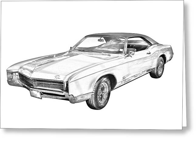 High-performance Luxury Car Greeting Cards - 1967 Buick Riviera Drawing Greeting Card by Keith Webber Jr