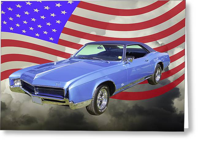 Old Automobile Greeting Cards - 1967 Buick Riviera With United States Flag Greeting Card by Keith Webber Jr