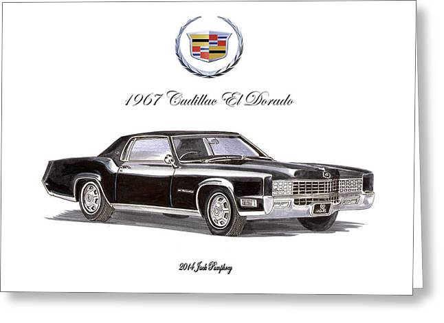 Black Top Drawings Greeting Cards - 1967 Cadillac El Dorado Greeting Card by Jack Pumphrey