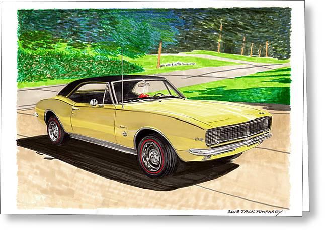 Headlight Paintings Greeting Cards - 1967 Camaro RS art Greeting Card by Jack Pumphrey