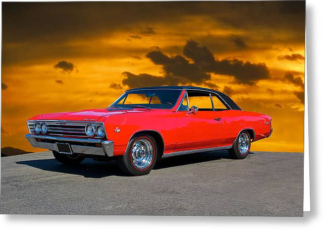 American Automobiles Greeting Cards - 1967 Chevelle 327 Greeting Card by Dave Koontz
