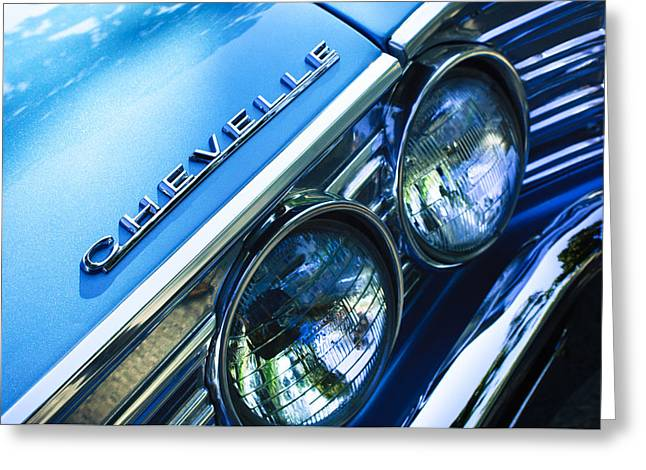 American Muscle Car Greeting Cards - 1967 Chevrolet Chevelle Malibu Head Light Emblem Greeting Card by Jill Reger