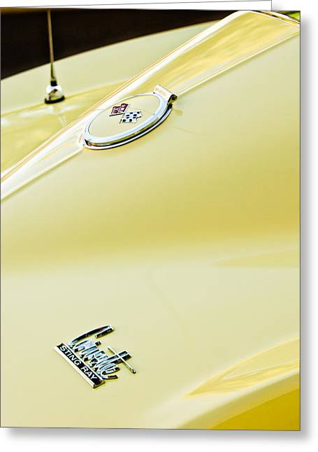 1967 Greeting Cards - 1967 Chevrolet Corvette Sport Coupe Emblem 2 Greeting Card by Jill Reger