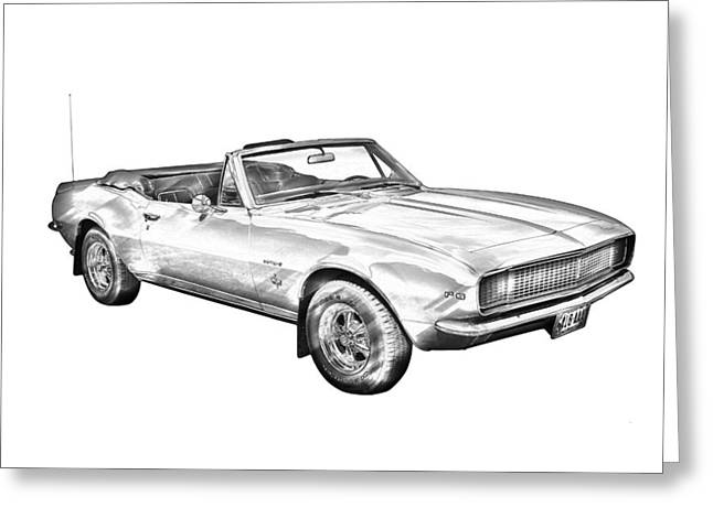 Red Chevrolet Greeting Cards - 1967 Convertible Camaro Car Illustration Greeting Card by Keith Webber Jr