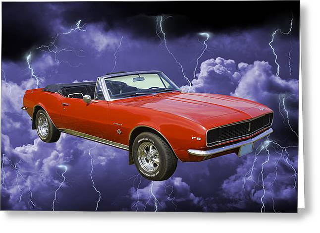 Red Chevrolet Greeting Cards - 1967 Convertible Red Camaro And Thunderstorm Greeting Card by Keith Webber Jr