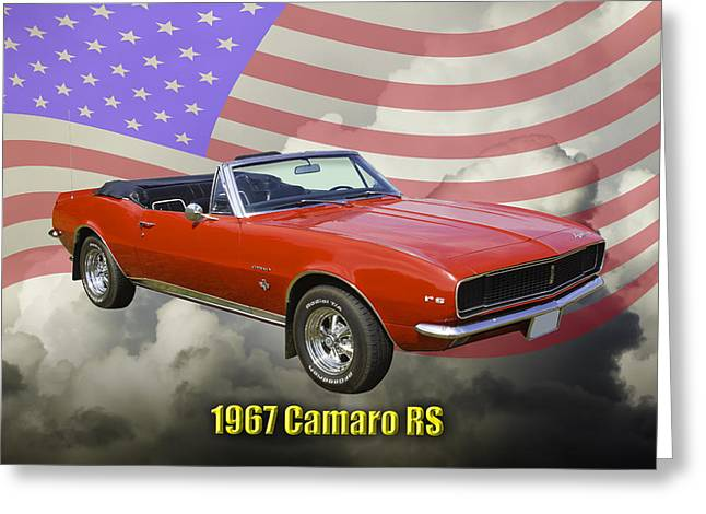 Red Chevrolet Greeting Cards - 1967 Convertible Red Camaro And US Flag Greeting Card by Keith Webber Jr