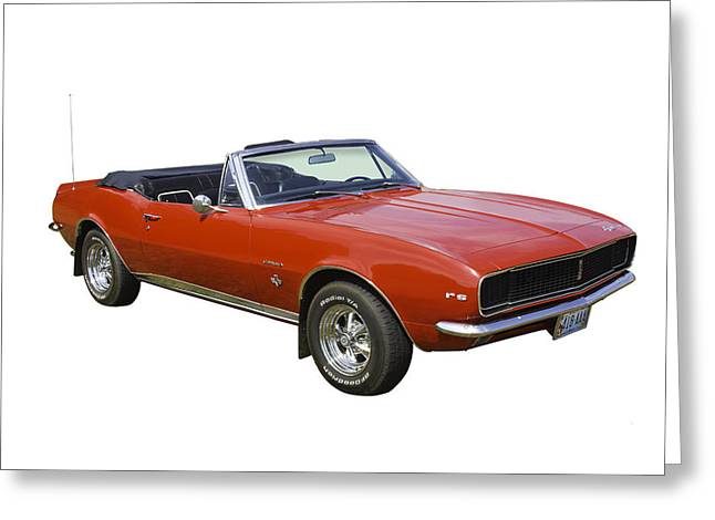 Red Chevrolet Greeting Cards - 1967 Convertible Red Camaro Muscle Car Greeting Card by Keith Webber Jr
