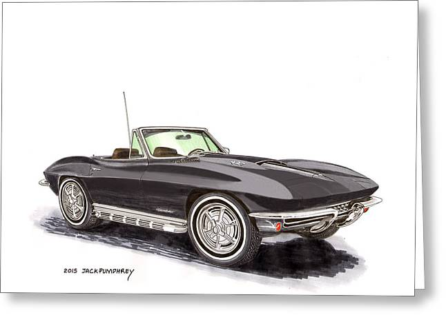 Steering Drawings Greeting Cards - 1967 Corvette Stingray Convert. Greeting Card by Jack Pumphrey
