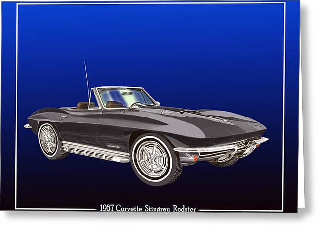 Manual Paintings Greeting Cards - 1967 Corvette Stingray Roadster Greeting Card by Jack Pumphrey