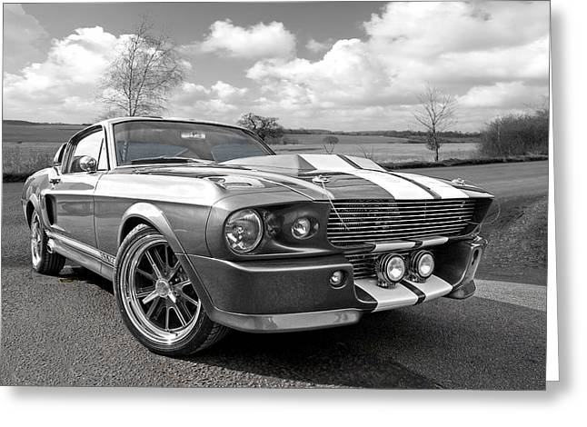 Ford Automobiles Greeting Cards - 1967 Eleanor Mustang in Black and White Greeting Card by Gill Billington