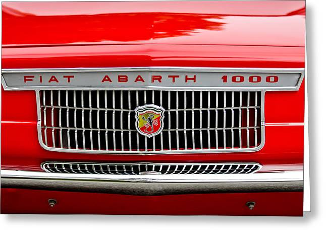 Car Show Photography Greeting Cards - 1967 Fiat Abarth 1000 OTR Grille Greeting Card by Jill Reger