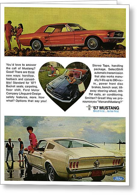 Carroll Shelby Greeting Cards - 1967 Ford Mustang Greeting Card by Digital Repro Depot