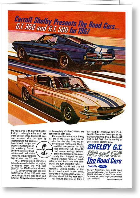 Carroll Shelby Greeting Cards - 1967 Ford Mustang Shelby GT350 and GT500 Greeting Card by Digital Repro Depot