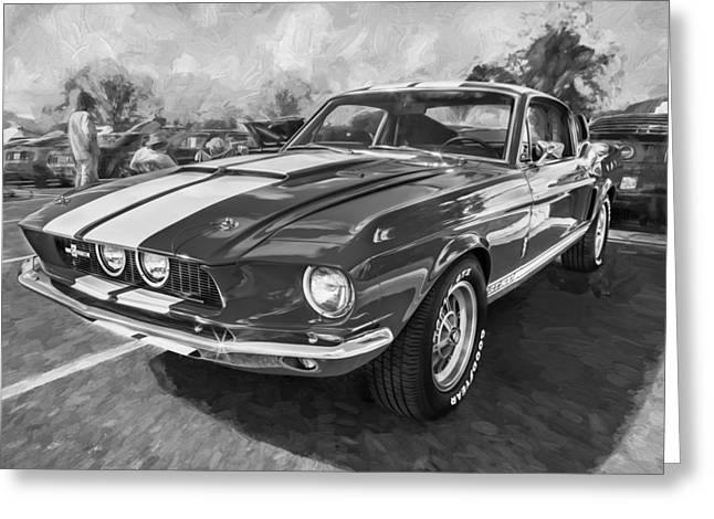 Police Cruiser Greeting Cards - 1967 Ford Shelby Mustang GT500 Painted BW Greeting Card by Rich Franco