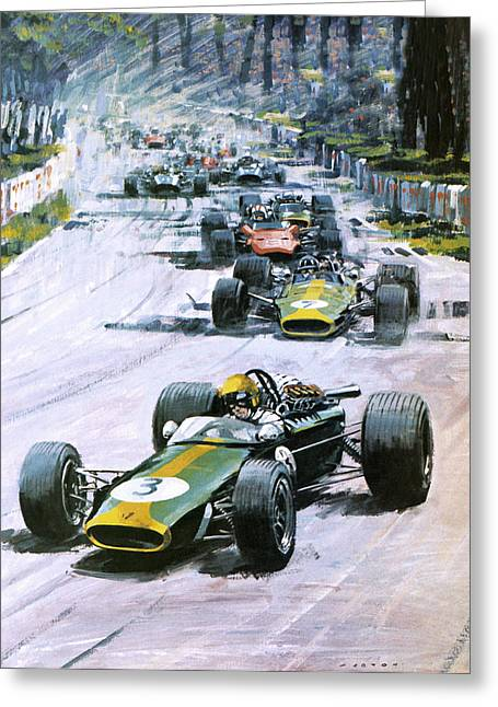 Leader Drawings Greeting Cards - 1967 French Grand Prix Greeting Card by Graham Coton