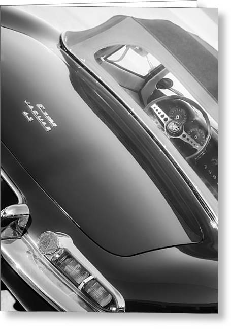 E Black Greeting Cards - 1967 Jaguar E-Type Roadster Taillight -1228bw Greeting Card by Jill Reger