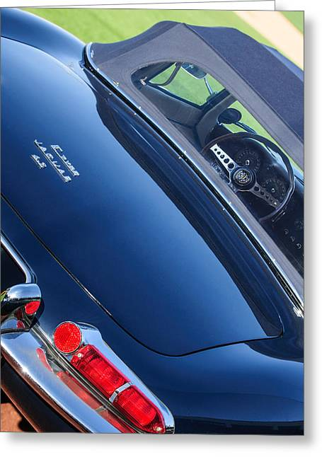 Jaguars Greeting Cards - 1967 Jaguar E-Type Roadster Taillight -1228c Greeting Card by Jill Reger