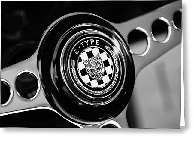 1967 Jaguar E-type Series I 4.2 Roadster Steering Wheel Emblem Greeting Card by Jill Reger