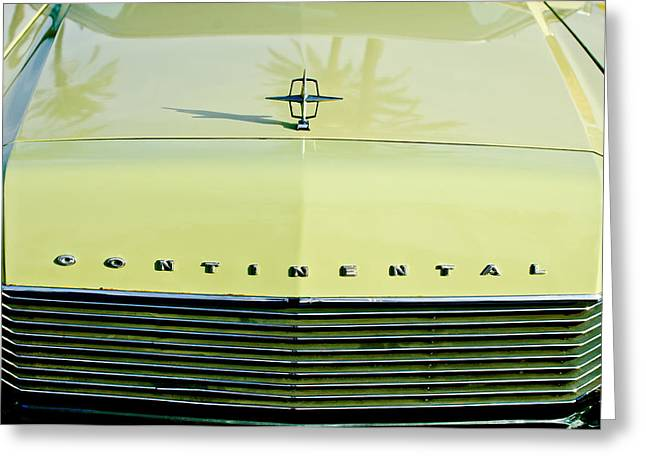 1967 Greeting Cards - 1967 Lincoln Continental Grille Emblem - Hood Ornament Greeting Card by Jill Reger
