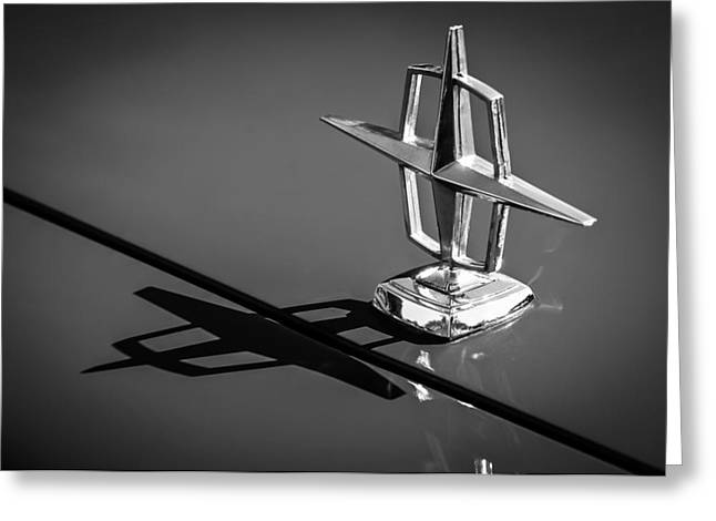 Lincoln Images Greeting Cards - 1967 Lincoln Continental Hood Ornament -1204bw Greeting Card by Jill Reger