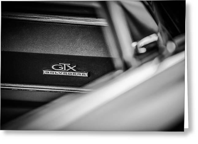 Belvedere Greeting Cards - 1967 Plymouth Belvedere GTX Dashboard Emblem -0994bw Greeting Card by Jill Reger