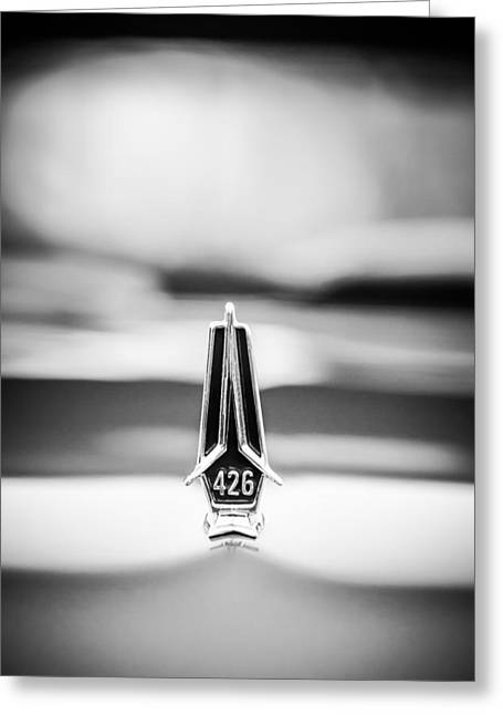 Belvedere Greeting Cards - 1967 Plymouth Belvedere GTX Hood Ornament -1013bw Greeting Card by Jill Reger