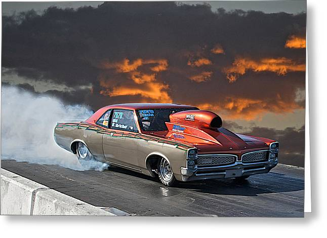 American Automobiles Greeting Cards - 1967 Pontiac GTO Burn Out Greeting Card by Dave Koontz