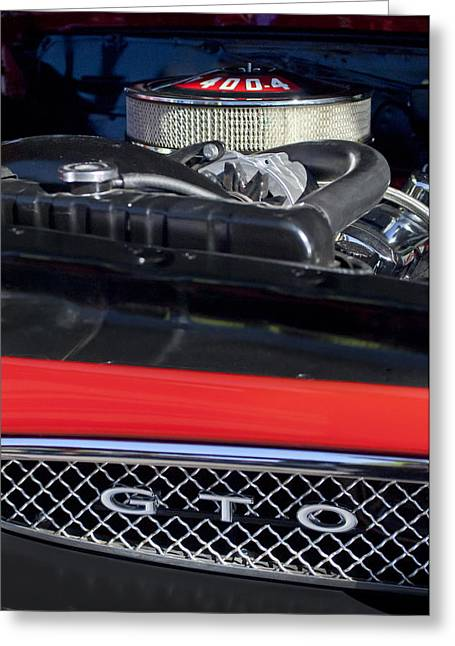 Famous Photographers Greeting Cards - 1967 Pontiac GTO Engine Emblem Greeting Card by Jill Reger