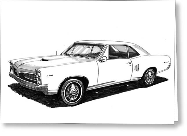 Pen And Ink Framed Prints Greeting Cards - 1967 Pontiac G T O Greeting Card by Jack Pumphrey
