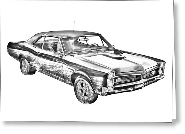 67 Greeting Cards - 1967 Pontiac GTO Muscle Car Illustration Greeting Card by Keith Webber Jr