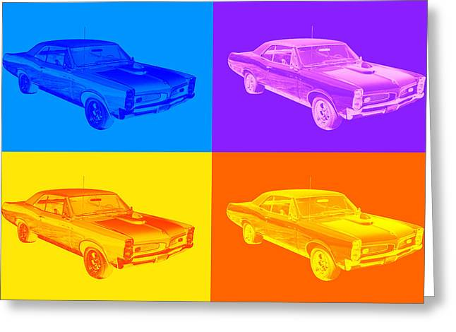 Classic Automobile Art Greeting Cards - 1967 Pontiac GTO Muscle Car Pop Art Greeting Card by Keith Webber Jr