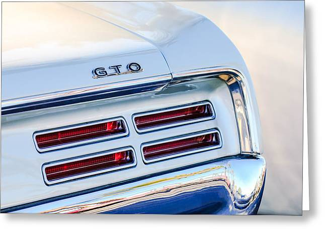 1967 Greeting Cards - 1967 Pontiac GTO  Taillight Emblem Greeting Card by Jill Reger