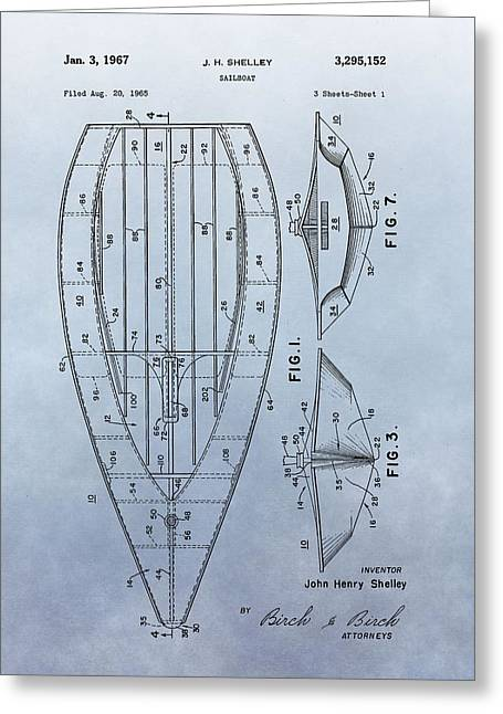 Sailer Greeting Cards - 1967 Sailboat Patent Greeting Card by Dan Sproul