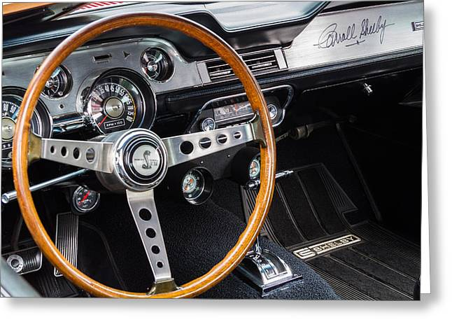 Carroll Shelby Greeting Cards - 1967 Shelby GT 350 Signed Dash Greeting Card by Roger Mullenhour