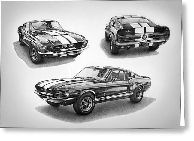 Carroll Shelby Drawings Greeting Cards - 1967 Shelby GT500 Mustang Greeting Card by Nick Toth