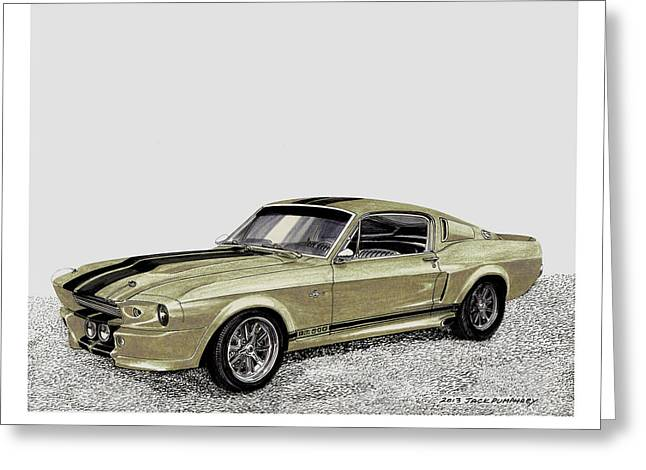 Cobra Art Greeting Cards - 1967 Shelby Mustang Eleanor Go Baby Go Greeting Card by Jack Pumphrey