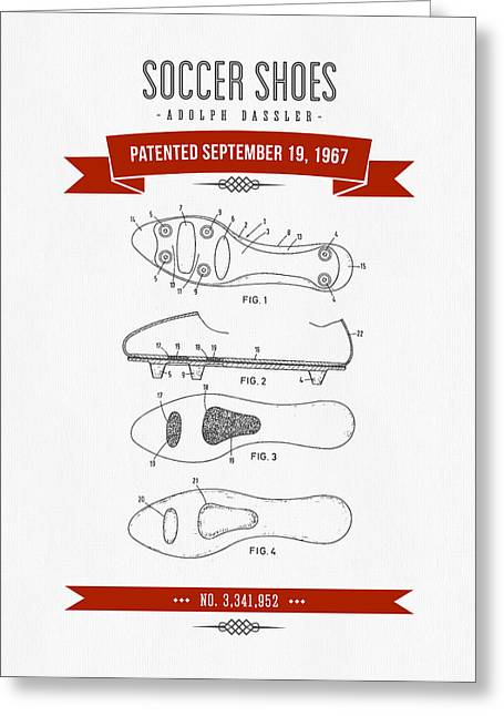 Player Digital Greeting Cards - 1967 Soccer Shoes Patent Drawing - Retro Red Greeting Card by Aged Pixel