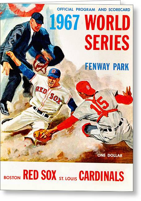 Red Sox Paintings Greeting Cards - 1967 World Series Program Greeting Card by Big 88 Artworks