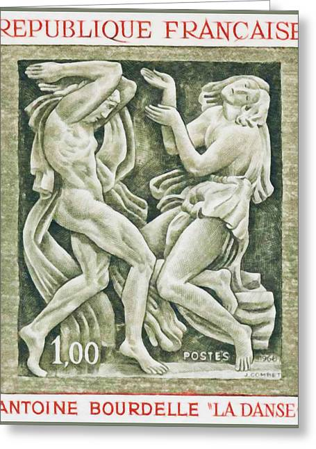 Relief Print Paintings Greeting Cards - 1968 Antoine Bourdelle DANCE Greeting Card by Lanjee Chee