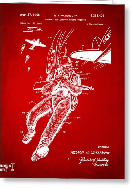Navy Seals Greeting Cards - 1968 Bulletproof Patent Artwork Figure 14 Red Greeting Card by Nikki Marie Smith