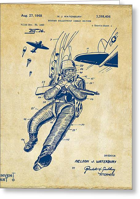 Navy Seals Greeting Cards - 1968 Bulletproof Patent Artwork Figure 14 Vintage Greeting Card by Nikki Marie Smith