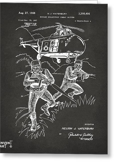 Navy Seals Greeting Cards - 1968 Bulletproof Patent Artwork Figure 15 Gray Greeting Card by Nikki Marie Smith