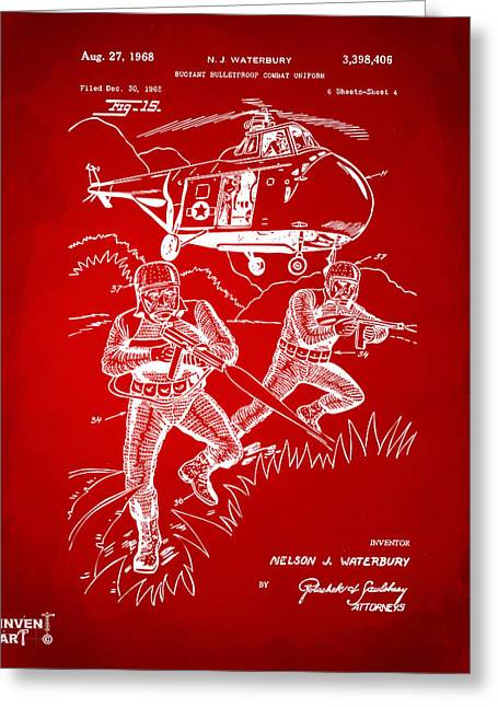 Navy Seals Greeting Cards - 1968 Bulletproof Patent Artwork Figure 15 Red Greeting Card by Nikki Marie Smith